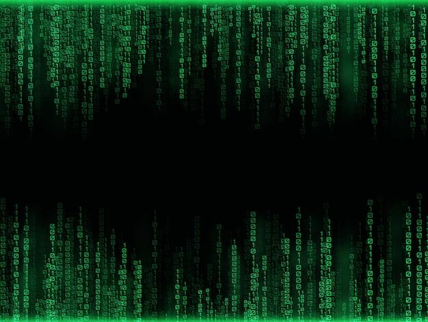 Spadające zielone liczby z jasnymi błyskami
