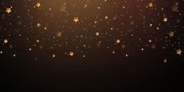 Spadające złote gwiazdki konfetti