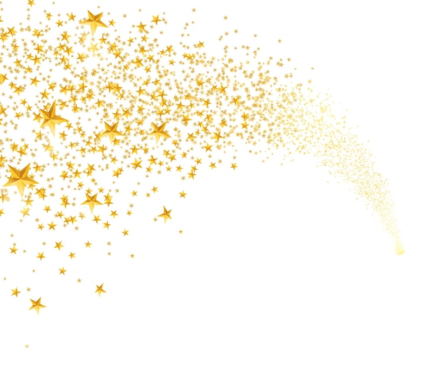 Spadające złote gwiazdy, pył. spadająca gwiazda z zaokrąglonym szlakiem na białym tle