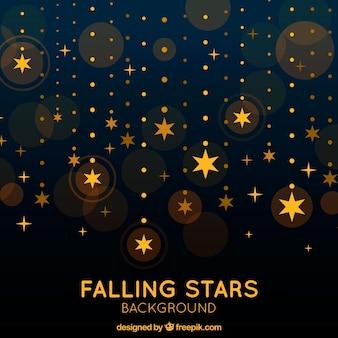 Spadające złote gwiazdy w tle
