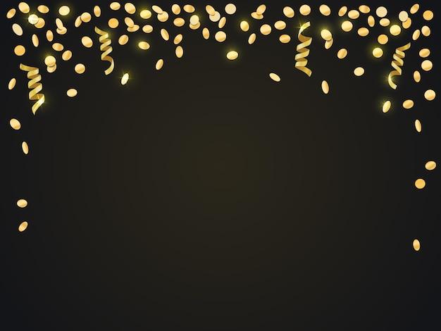 Spadające złote konfetti na ciemnym tle.