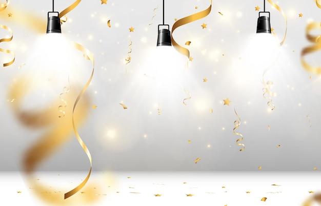 Spadające złote konfetti