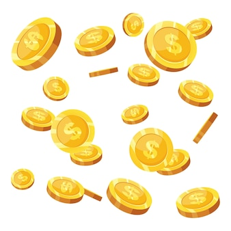 Spadające złote monety na białym tle