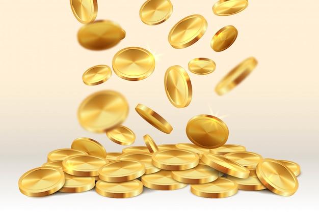 Spadające złote monety. pieniądze deszcz kasyno jackpot 3d realistyczna złota gra wygrywający skarb. spadająca moneta