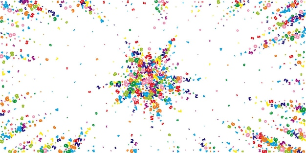 Spadające żywe liczby. koncepcja studiów matematycznych z latającymi cyframi. niezrównany powrót do szkoły matematyki transparent na białym tle. spadające liczby ilustracji wektorowych.
