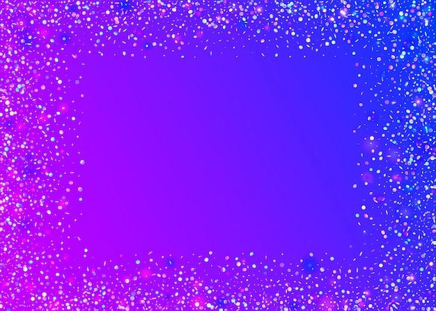 Spadający blask. retro realistyczne tło. przezroczysty blichtr. niebieskie rozmycie tła. folia fiesty. sztuka webpunka. ulotka dyskotekowa. karnawałowe konfetti. fioletowy blask