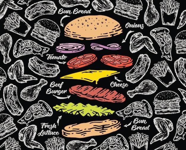 Spadający burger na tle tablicy