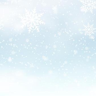 Spadający lśniący śnieg lub płatki śniegu na niebieskim tle dla wesołych świąt i szczęśliwego nowego roku. wektor