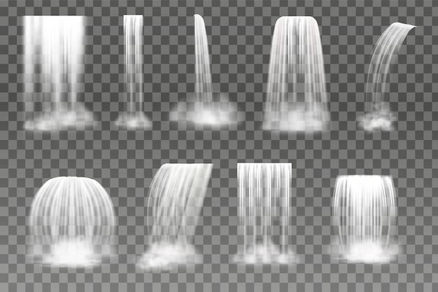 Spadający przezroczysty wodospad lub rzeka. realistyczna ilustracja wektorowa.