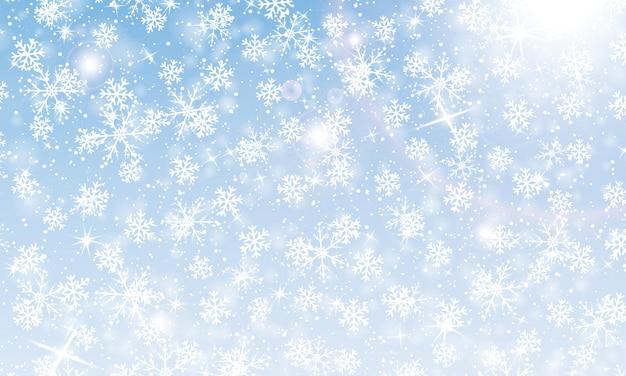 Spadający śnieg. ilustracja wektorowa z płatkami śniegu. zimowe niebo. świąteczna tekstura. tło blasku śniegu.