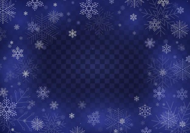Spadający śnieg. realistyczne spadające płatki śniegu na przezroczystym tle. obfite opady śniegu w różnych kształtach i formach. miejsce na twój tekst.