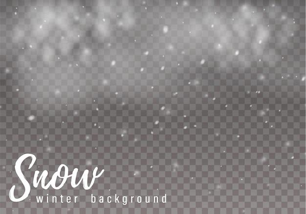 Spadający śnieg. realistyczne spadające płatki śniegu