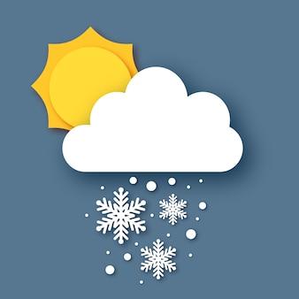 Spadający śnieg. słońce i chmura. cięcie papieru pogoda. białe płatki śniegu. zimowy czas.