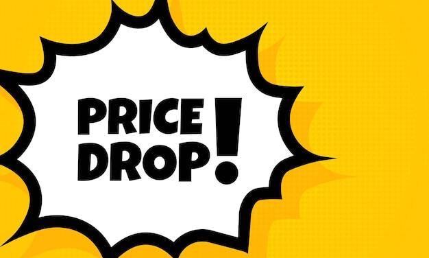 Spadek ceny baner dymek. komiks w stylu retro pop-artu. dla biznesu, marketingu i reklamy. wektor na na białym tle. eps 10.