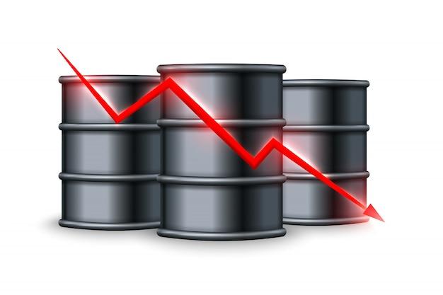 Spadek ceny ropy. ilustracja