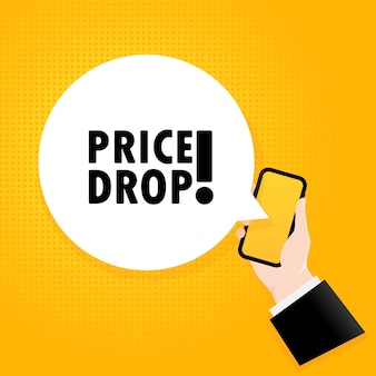 Spadek ceny. smartfon z tekstem bąbelkowym. plakat z tekstem obniżka cen. komiks w stylu retro. dymek aplikacji telefonu.