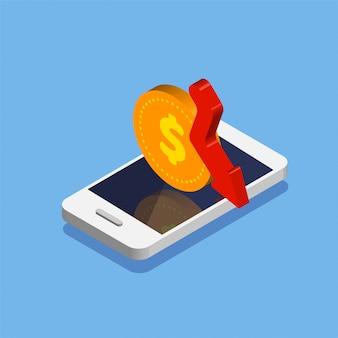 Spadek dolara. smartphone z ikoną monety dolara w modnym stylu izometrycznym. przepływ pieniędzy i płatności online. zwrot gotówki lub zwrot pieniędzy. ilustracja na białym tle.