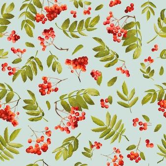 Spadek jarzębiny bezszwowe tło. kwiatowy wzór jesienny z liśćmi i jagodami