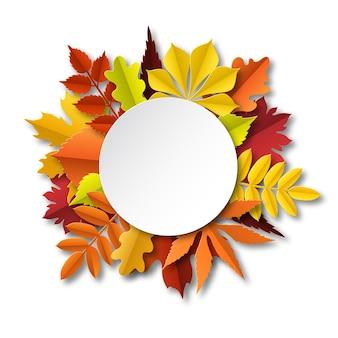 Spadek liści skład. papierowa rama cięta z jesiennymi spadającymi żółto-pomarańczowo-czerwonymi liśćmi, sezonowe kwiatowe elementy botaniczne poniżej sztandaru koła z wektorem cienia na białym tle okrągłej koncepcji z miejscem na kopię