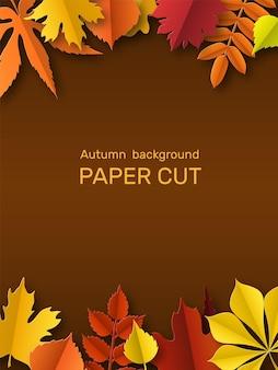Spadek pozostawia transparent. jesienna granica, wycinana z papieru rama żółty, pomarańczowy i czerwony liść. złota ozdoba liści dziękczynienia. sezonowe kwiatowy elementy botaniczne wektor streszczenie tło z miejsca na kopię