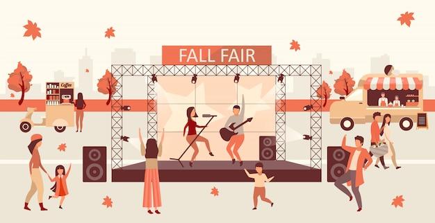 Spadek uczciwy płaski ilustracja. święto jesieni i święto dziękczynienia. fall rock fest, karnawał z ciężarówkami z jedzeniem ulicznym. piosenkarze rockowi na scenach i koncertach postaci z kreskówek