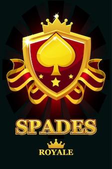 Spades royale w czerwonej tarczy. baner kasyna ze wstążką z nagrodami i koroną. obiekty na osobnej warstwie.