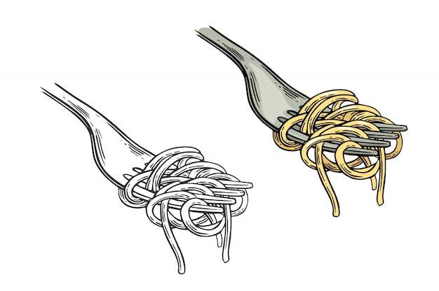 Spaghetti na widelec ilustracji