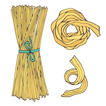 Spaghetti odosobniony włoski jedzenie