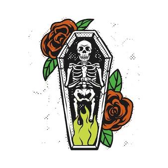 Spal szkielet w trumnie