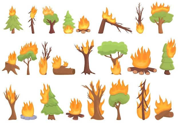 Spalanie ikona lasu. kreskówka płonącego lasu wektor ikona do projektowania stron internetowych na białym tle
