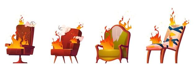 Spalanie połamanych krzeseł i foteli, stare śmieciowe meble w ogniu