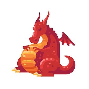 Spalony czerwony smok. fantasy stwór płaski ilustracja