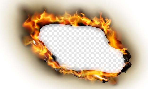 Spalony papier wpływa na płonące czerwone iskry realistyczny ogień płomienie streszczenie tło