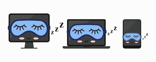 Spanie z komputera stacjonarnego, laptopa, tabletu pc lub zestaw ikon smartfona na białym tle. śpiące nowoczesne słodkie urządzenia elektroniczne z maską do spania. ilustracja wektorowa płaska konstrukcja.