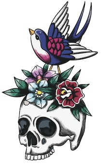 Sparrow on skull neo traditional old school