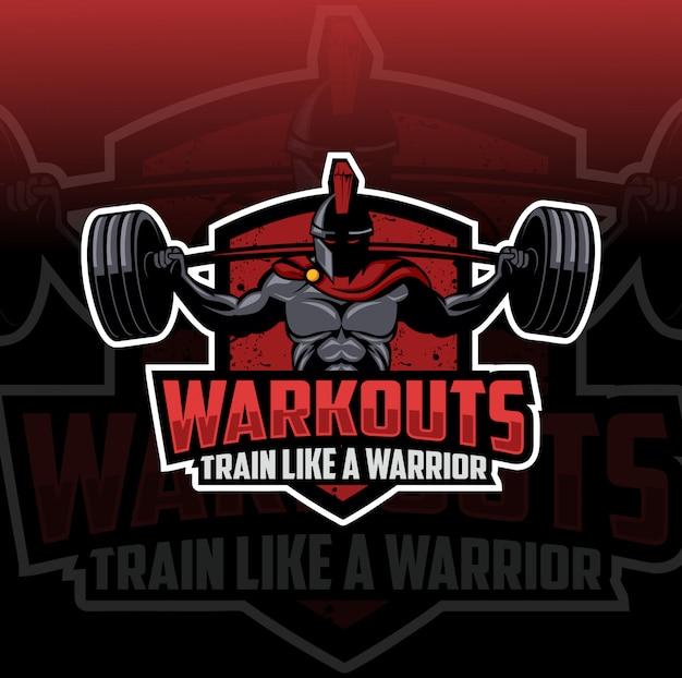 Spartan treningu maskotka logo e-sport
