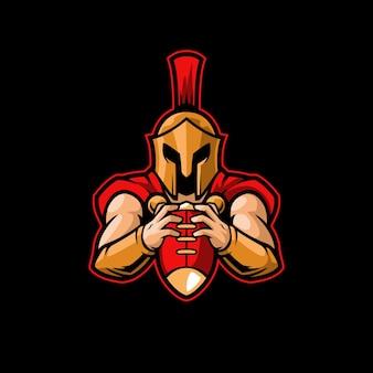 Spartańska drużyna piłkarska maskotka trojan grecki wojownik