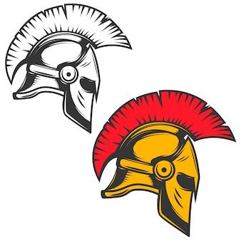Spartański hełm. elementy godła, znak, znaczek. ilustracja