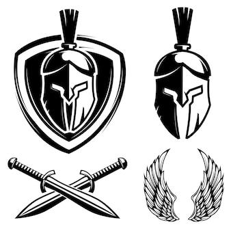 Spartański hełm, tarcza, miecz, skrzydła. elementy etykiety drużyny sportowej, znaczek, znak. ilustracja
