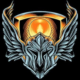 Spartański hełm ze skrzydłami