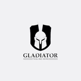 Spartański kask, szablon logo gladiatora