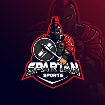 Spartański maskotka loga projekta wektor z nowożytną ilustracją