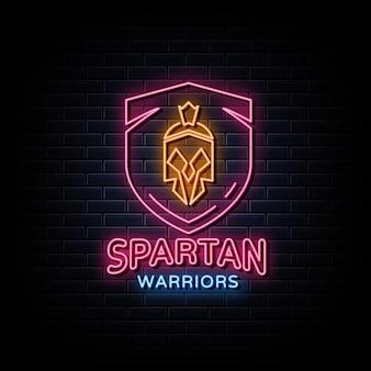 Spartański neon znak wojownik logo w stylu neonowym