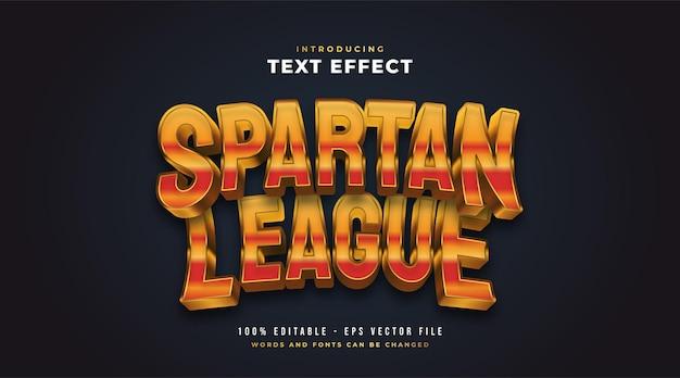Spartański tekst w stylu e-sportowym z wytłoczonym efektem 3d. edytowalny efekt stylu tekstu