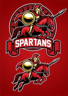 Spartański wojownik jazda konna maskotka