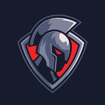 Spartański wojownik na projekcie logo sportowego tarczy