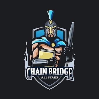 Spartański z logo miecza i książki