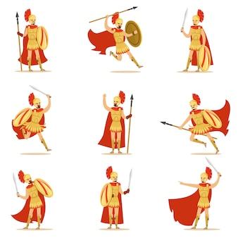 Spartański żołnierz w złotej zbroi i czerwonej pelerynie zestaw ilustracji wektorowych