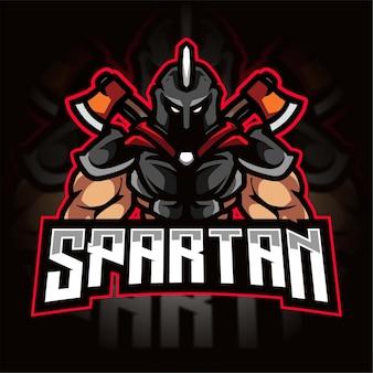 Spartańskie Logo Gier E-sportowych Premium Wektorów
