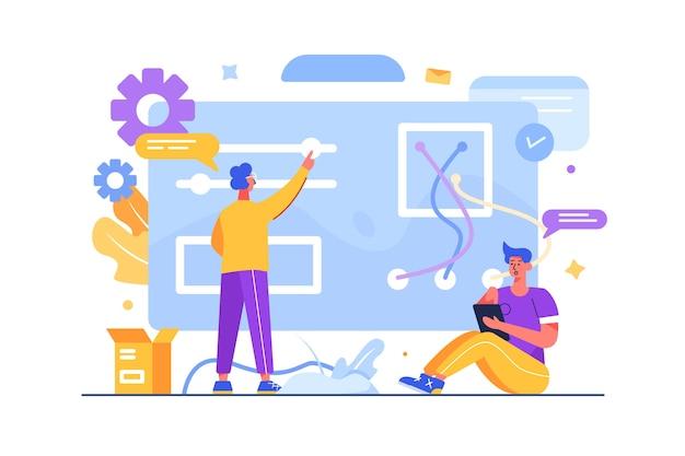 Specjaliści dostosowują i optymalizują strony internetowe i wyszukiwarki, programiści, internet, izolowani.